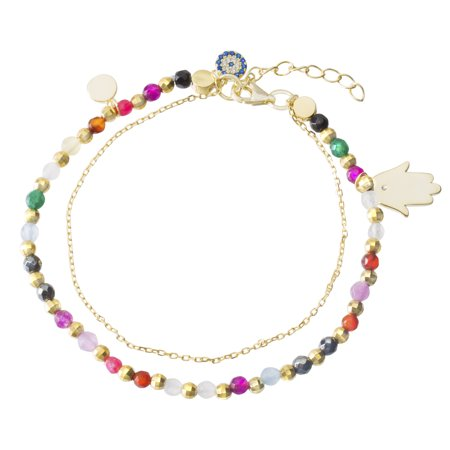 Multicolored Cubic Zirconia Hamsa and Evil Eye Chain Bracelet in Yellow Gold Plated Sterling Silver