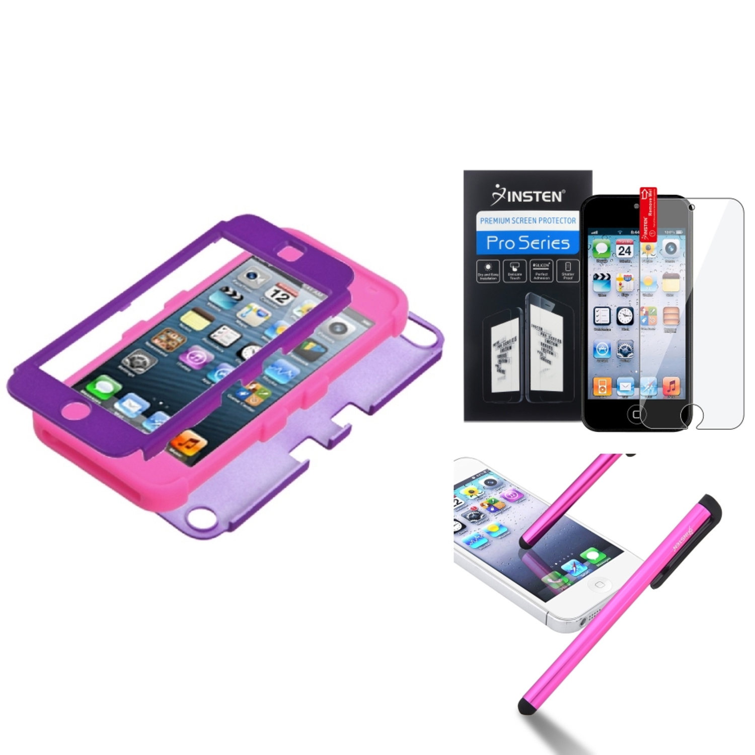 Insten Grape/Electric Pink TUFF Hybrid Hard Case Cover For iPod Touch 6th 6G 6 5th 5G 5 LCD Film Pen