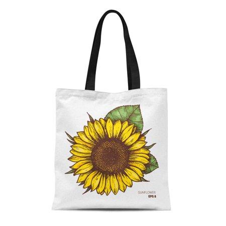 SIDONKU Canvas Tote Bag Yellow Botanical Sunflower Vintage Engraved Retro Artistic Beautiful Beauty Reusable Shoulder Grocery Shopping Bags Handbag](Sunflower Bag)