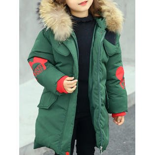 Kids Girls Warm Hat Neck Long Winter Coat - Iron Coat Hat