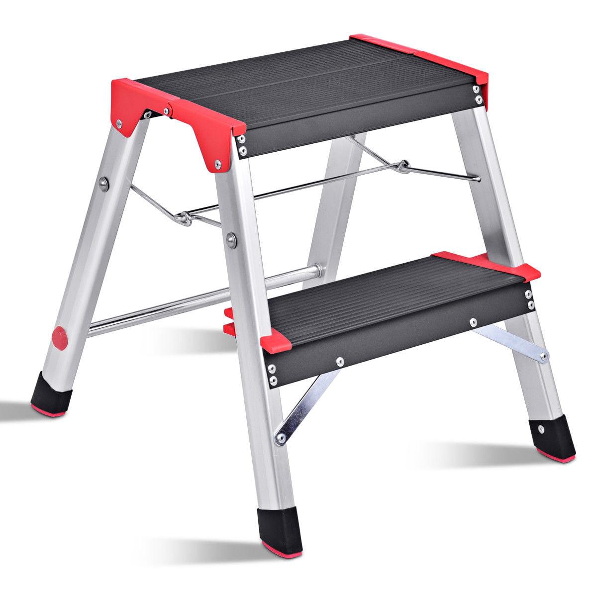 Costway 2 Step Aluminum Lightweight Ladder Folding Non Slip Platform Stool 330lbs Load Walmart Com Walmart Com