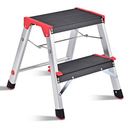Admirable Costway 2 Step Aluminum Lightweight Ladder Folding Non Slip Platform Stool 330Lbs Load Inzonedesignstudio Interior Chair Design Inzonedesignstudiocom