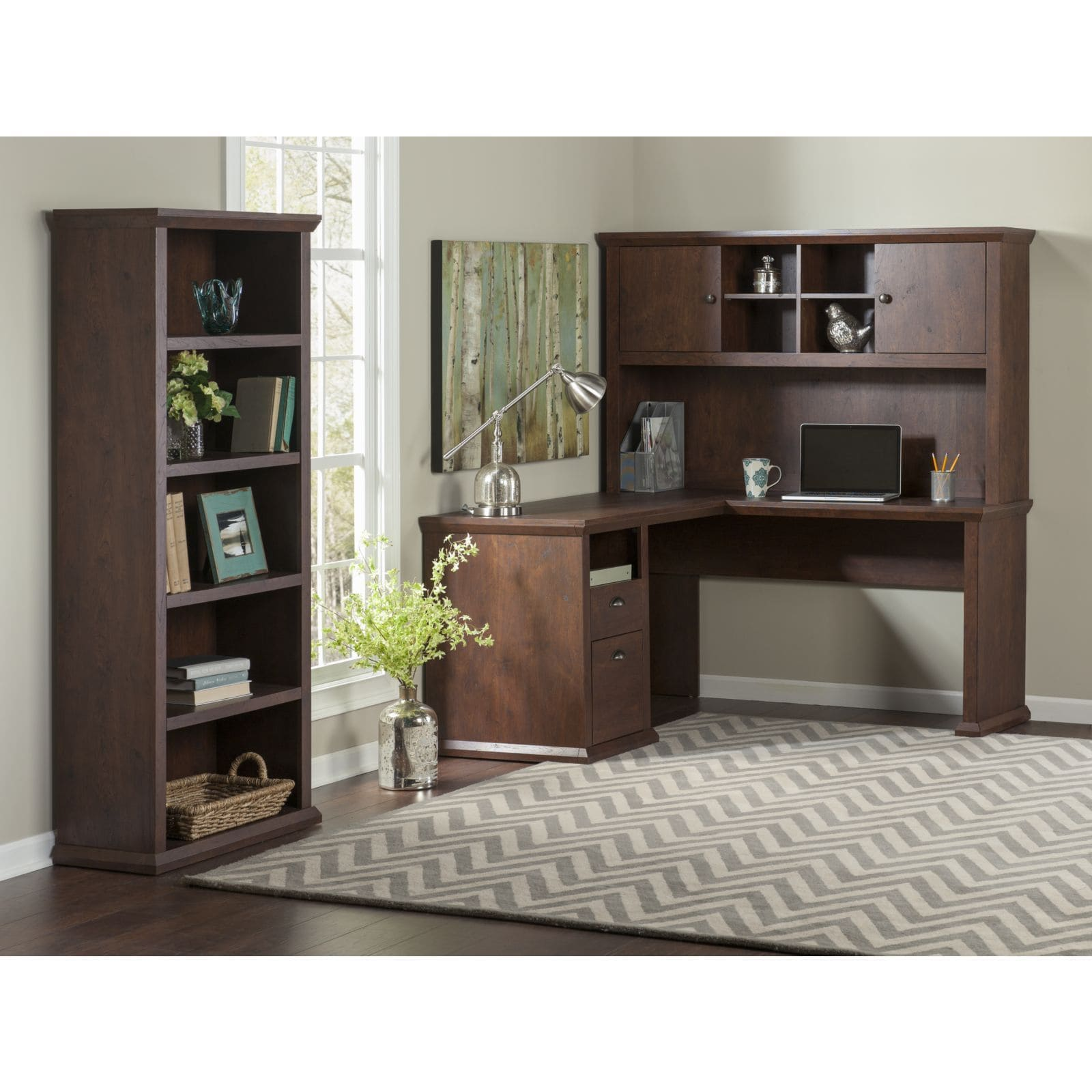 Bush Furniture Yorktown L Shaped Desk with Hutch and Bookcase