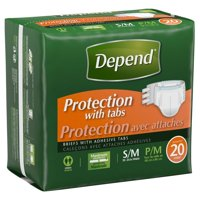 Depend Protection with Tabs, Small/Medium - Case of 60
