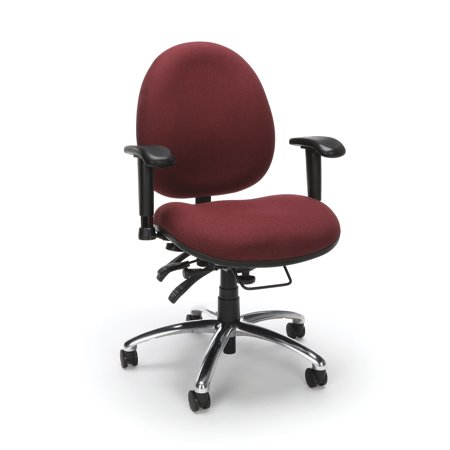 OFM Model 247 24 Hour Big and Tall Ergonomic Computer Swivel Task Chair with Arms, Fabric, Burgundy