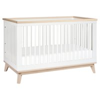 Babyletto Scoot 3-in-1 Convertible Crib with Toddler Rail in White/Washed Natural