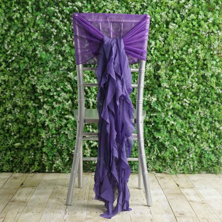BalsaCircle Premium Curly Chiffon Chair Cover Cap with Sashes - Wedding Party Ceremony Reception Decorations Cheap Supplies - Party City Chair Covers