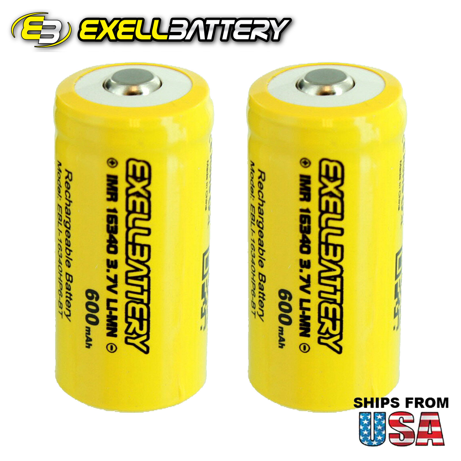 BRAND NEW 2pc IMR 16340 LiMN 600mAh Rechargeable High Drain Button Top Battery