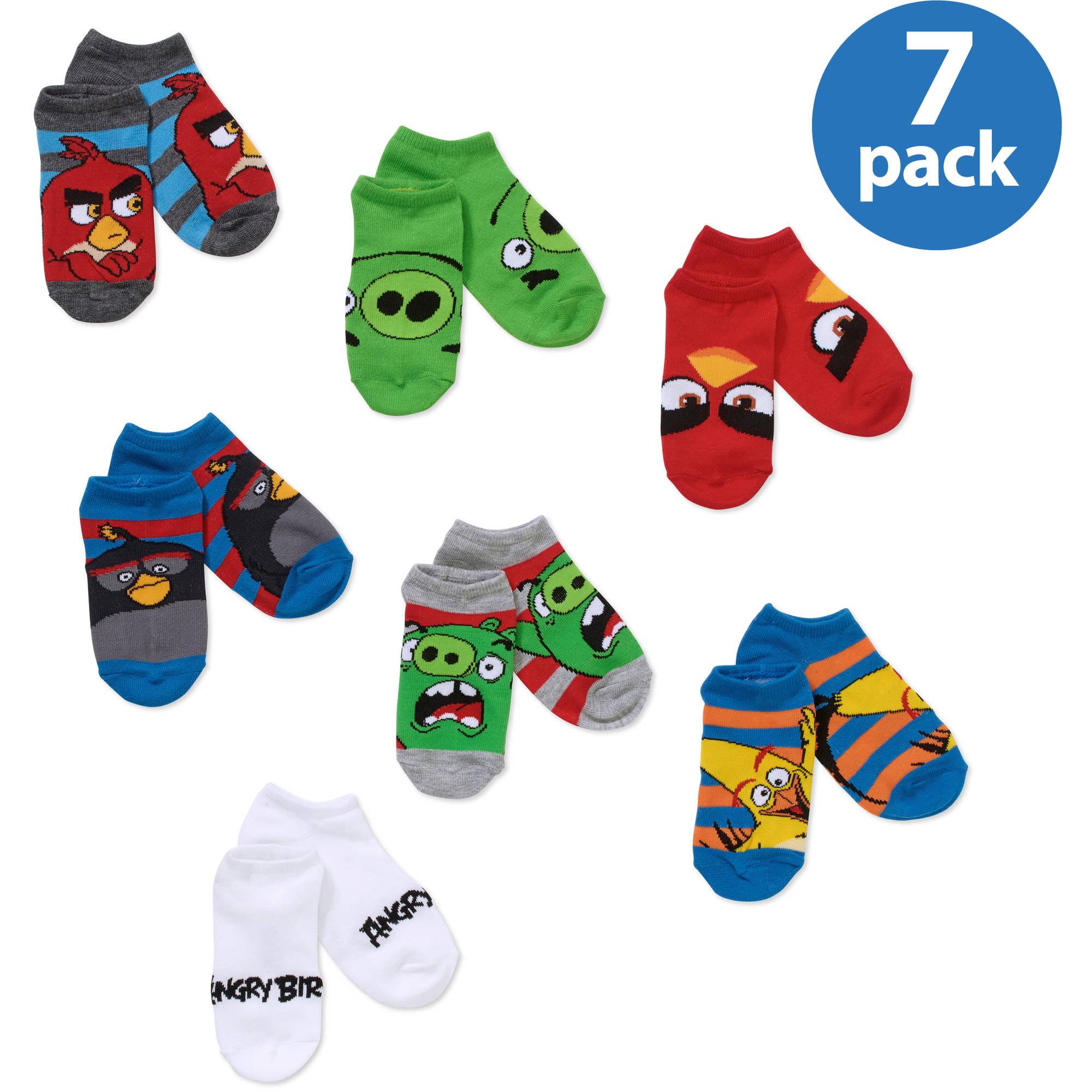 Angry Bird Boys' No Show Socks, 5 Pack + 2 Bonus Pairs
