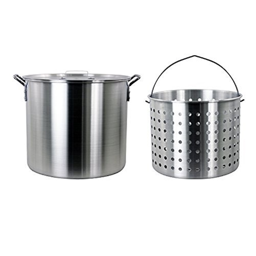 Chard 42-Quart Aluminum (Silver) Pot with Lid and Basket