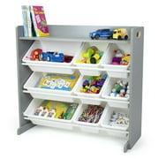 Humble Crew Toy Storage Organizer with Shelf and 9 Storage Bins, Gray