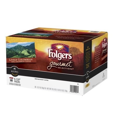 Folgers Medium Roast Colombian Single Serve Coffee for Keurig, Original, 80 Ct