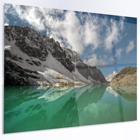 Design Art Clear Mountain Lake Under Bright Sky Photographic Print On Metal