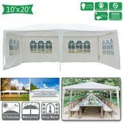 Pabby Yard 10' x 20' Tents and Canopies Outdoor Tents and Canopy, White 4 Sides Portable Waterproof Tent with Spiral Tubes Canopy Tents for Outside Party Waterproof Canopy Wedding Tent BBQ Shelter