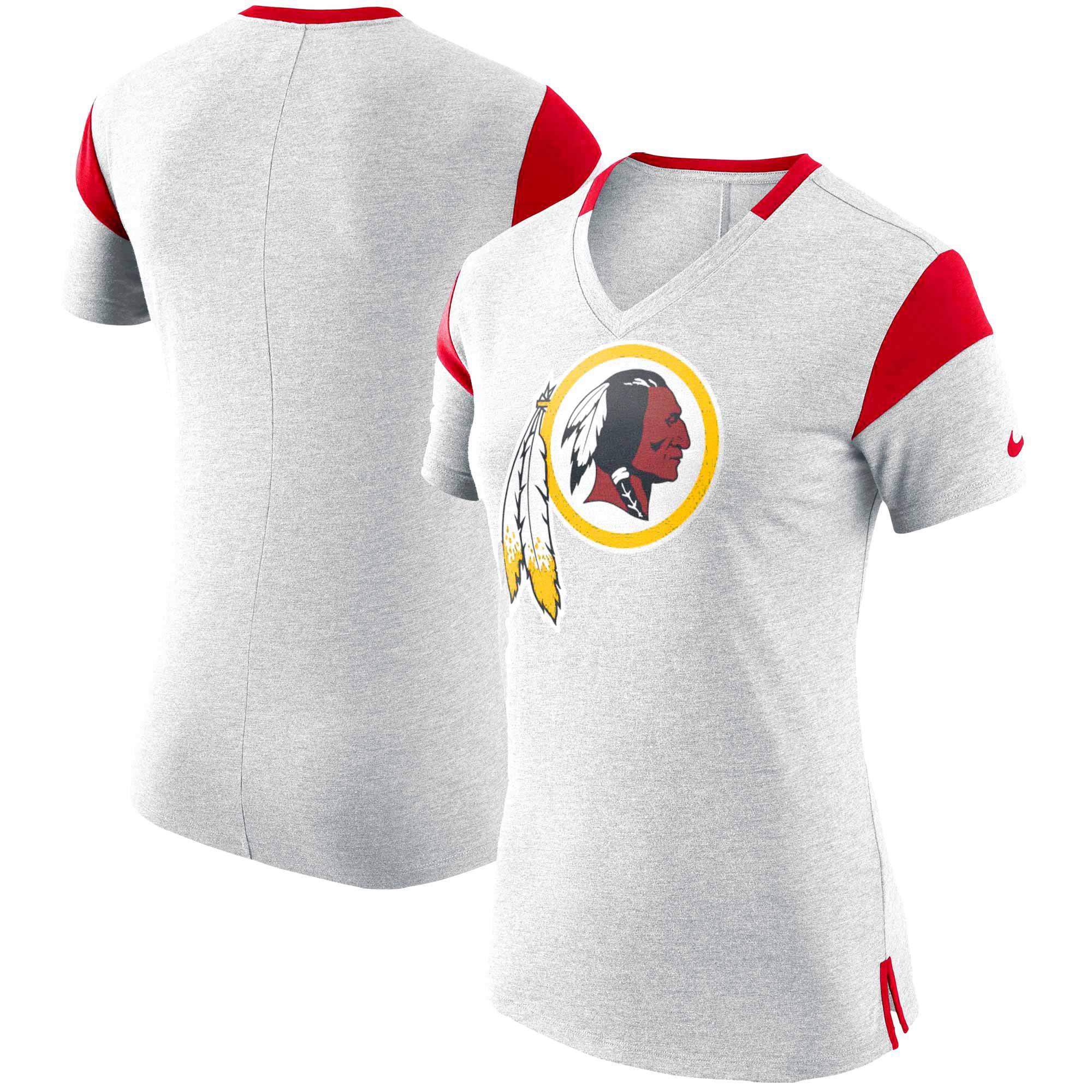 Washington Redskins Nike Women's Fan V-Neck T-Shirt - Heathered Gray