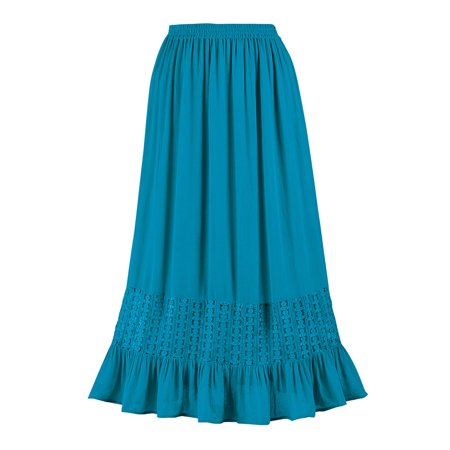 Lace Ruffled Mini Skirt - Women's Lace Trim Ruffle Hem Woven Skirt with Elastic Waistband - Stylish Seasonal Skirt for Everyday Wear, Medium, Turquoise