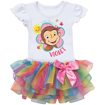 Curious George Flower - Personalized Curious George Flower Toddler Rainbow Tutu Tee