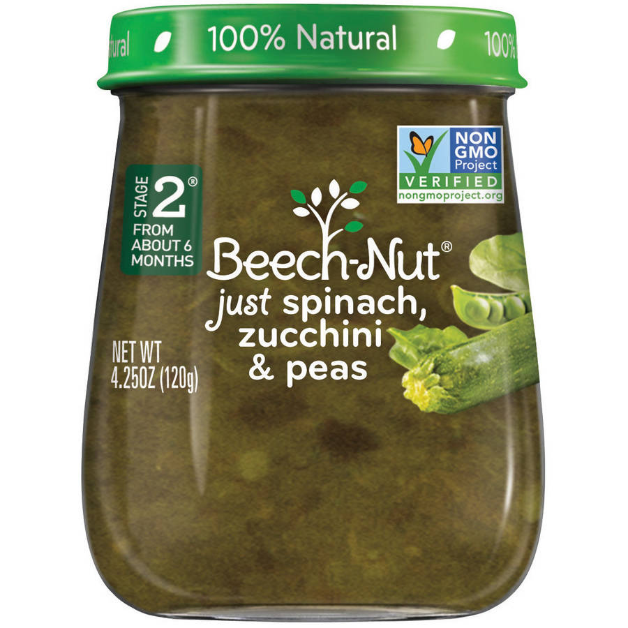 Beech-Nut Naturals Stage 2 Just Spinach, Zucchini & Peas Baby Food, 4.0 oz, (Pack of 10)