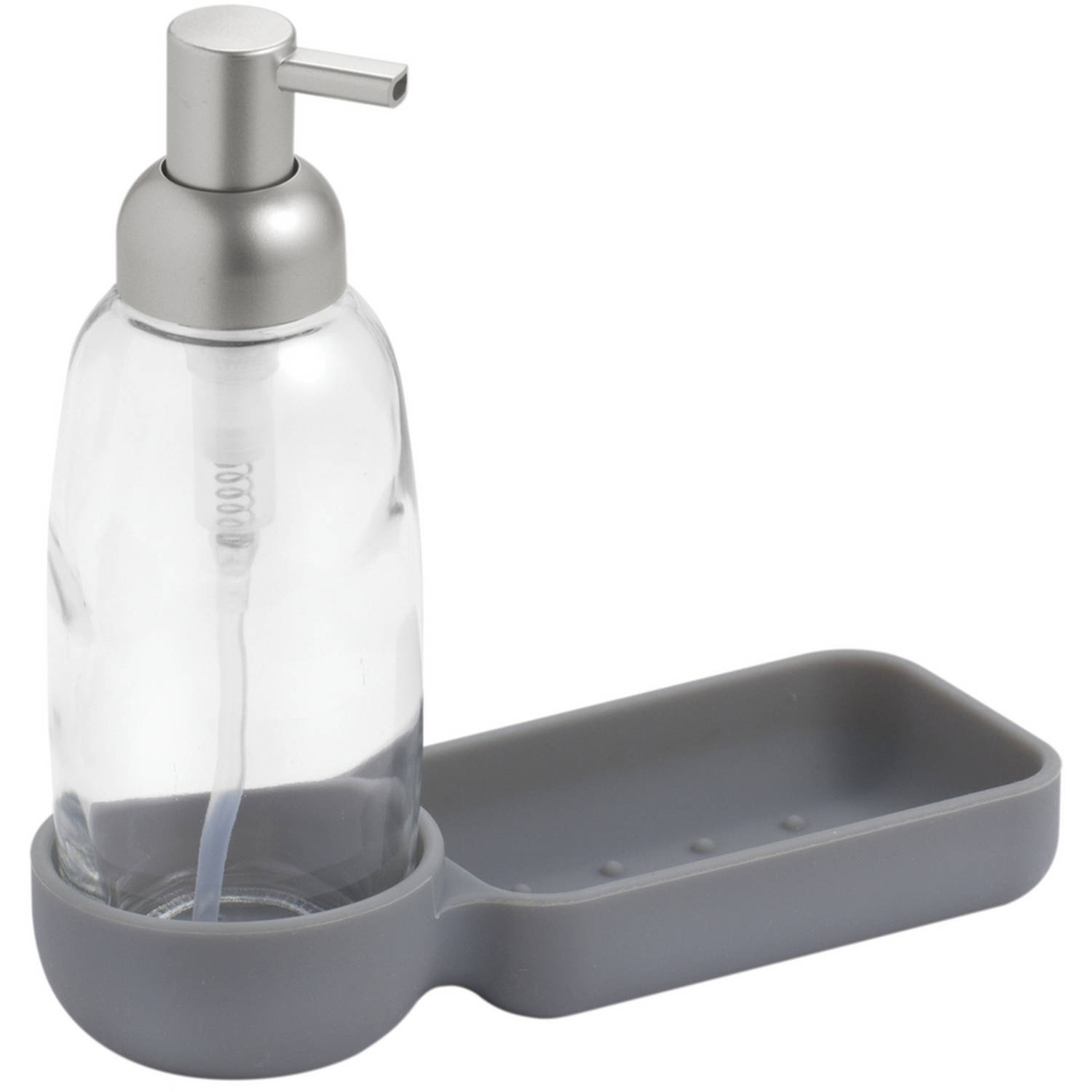 Interdesign Lineo Kitchen Glass And Silicone Soap Dispenser Pump Sponge Caddy Organizer Clear Gray Brushed Com