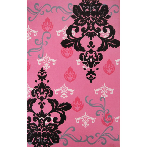 "Graphic Damask 53"" x 83"" Rug, Pink"