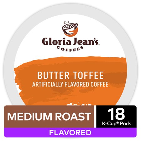 Gloria Jean's Coffee Butter Toffee, Flavored Keurig K-Cup Pod, Medium Roast, 18 - Eggnog Flavored Coffee