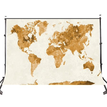 HelloDecor Polyster 5x7ft Mottled Watercolor World Photo Background Beige Map Photography Backdrop Studio Props Wall - Mlp Background