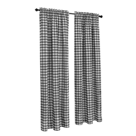 2 Pack: Country Chic Plaid Gingham Check Rod Pocket Window Curtain - Black, 84 in. - Gingham Definition