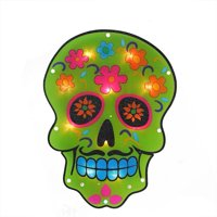 """Northlight 14"""" Prelit Day of the Dead Skull Window Silhouette Decoration - Green/Pink"""