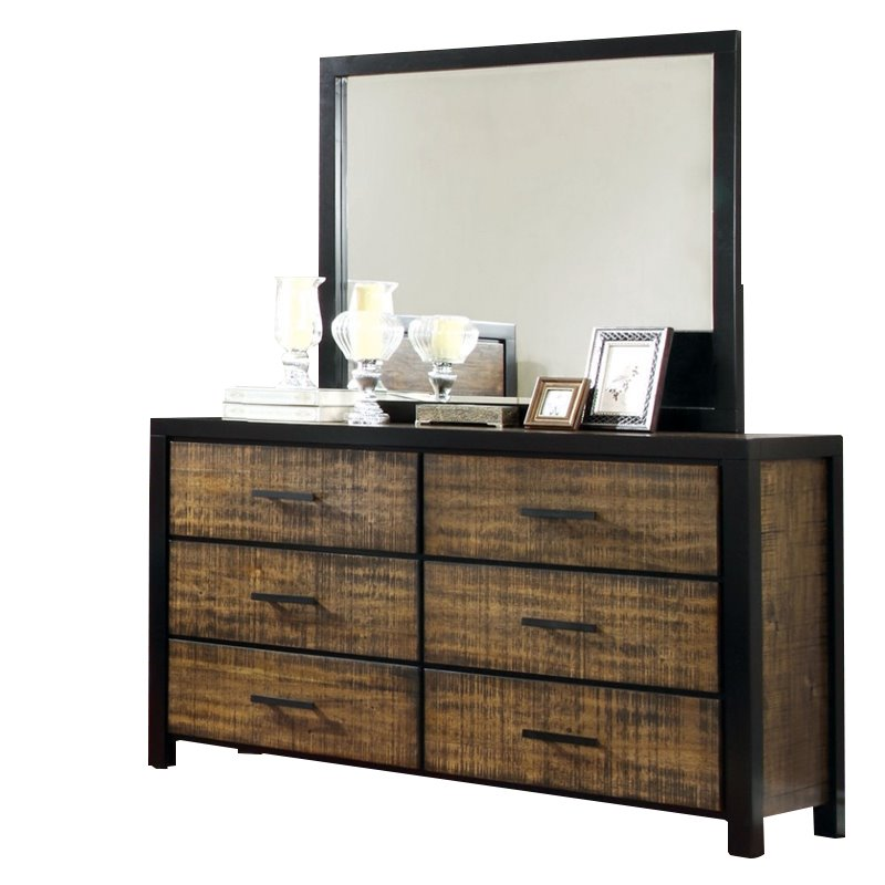 Furniture of America Idina 6 Drawer Dresser With Mirror by Furniture of America