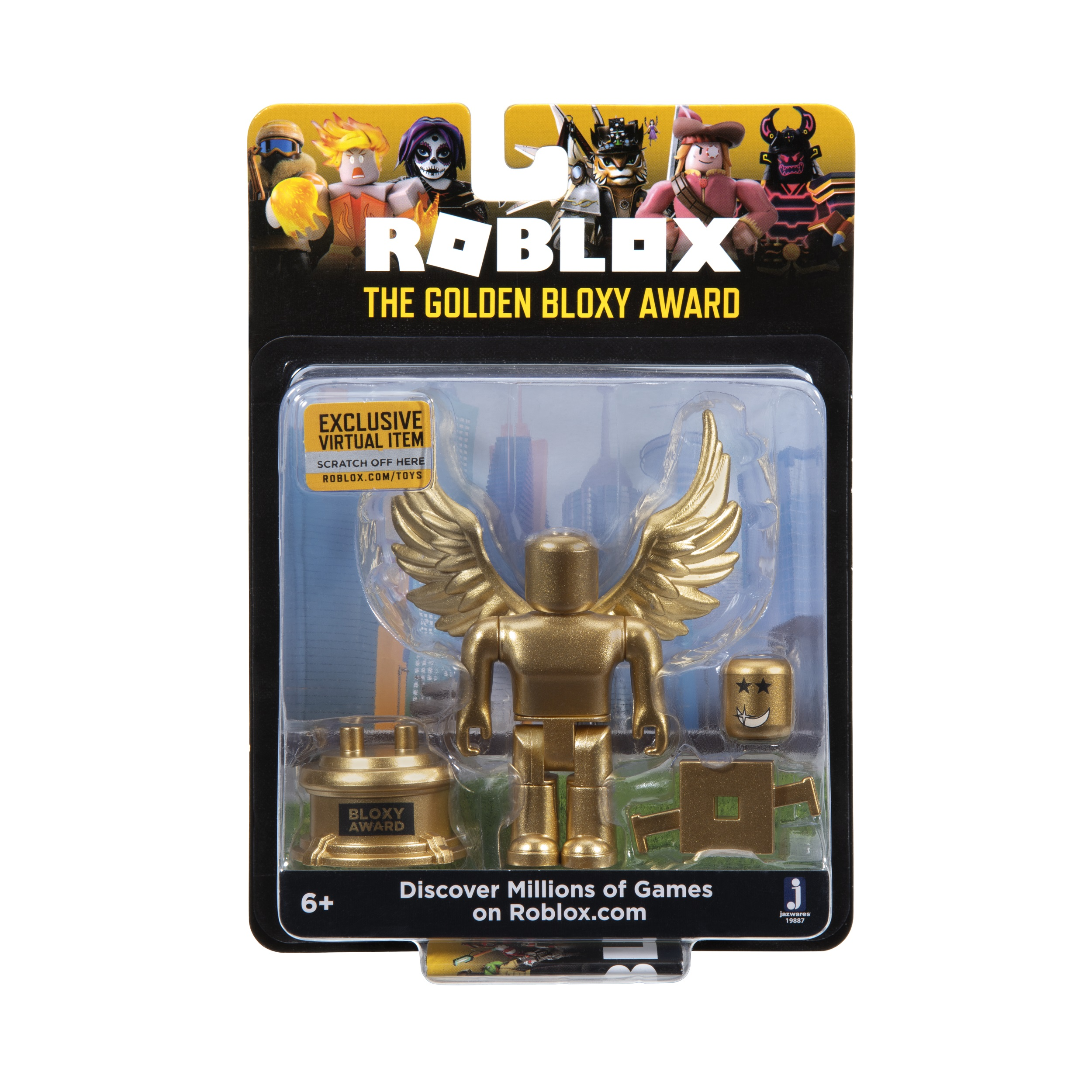 Roblox Celebrity Collection The Golden Bloxy Award Figure Pack Includes Exclusive Virtual Item Walmart Com Walmart Com