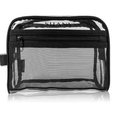 Shany Clear Toiletry And Makeup Bag With Plastic Mesh Pocket Medium Nontoxic Travel Organizer Handle Black