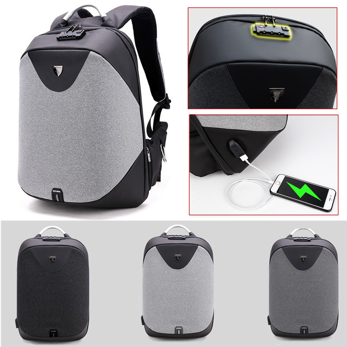 Fashion Anti- theft Men Backpack Laptop School Travel Bag USB Charging Port Customs Lock