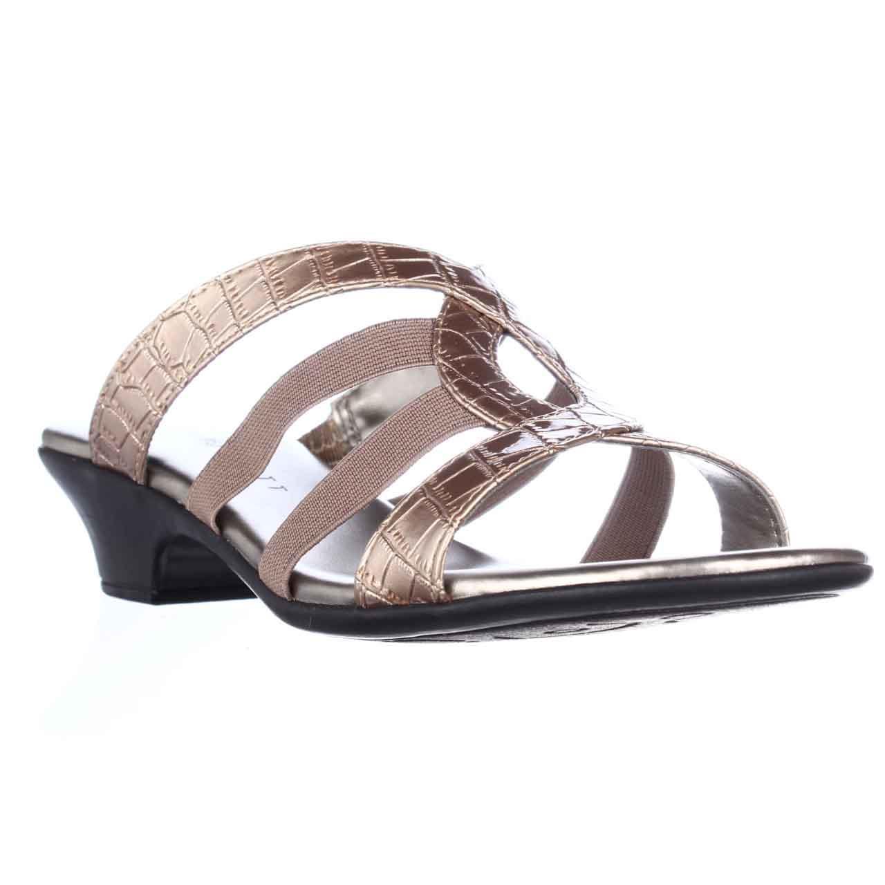 Womens Karen Scott Emet Open Toe Slide Sandals - Mocha