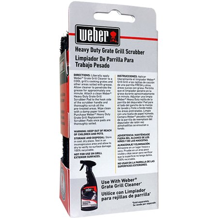 Weber Grate Grill Scrubber Handle with Heavy Duty Pads, 3 Count