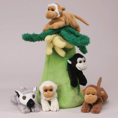 Plush Monkey House with Animals - Five (5) Stuffed Monkeys in Play Banana Tree Carrying Case ()