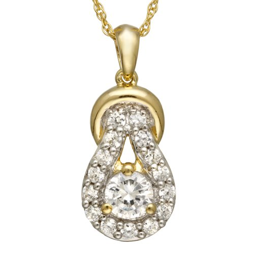 """1.45 Carat T.G.W. CZ 14kt Yellow Gold over Sterling Silver Knot Pendant, 18"""""""