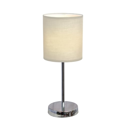 Product Image Simple Designs Chrome Mini Basic Table Lamp With Fabric Shade