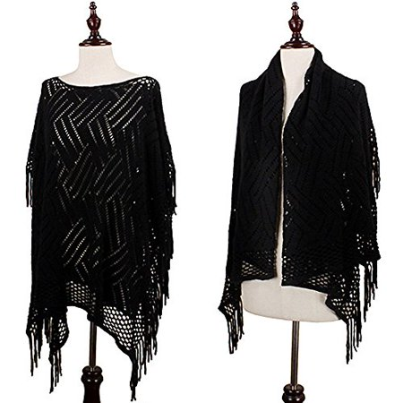 StylesILove 3 Ways Pattern Lace Knitted Women's Shawl Wrap with Fringe, 5 Colors (Black) (Shawl With Fringe)