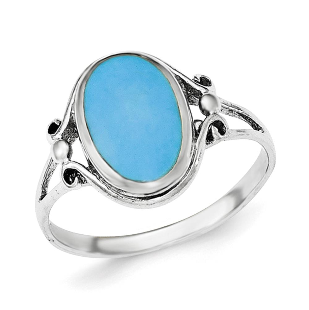 925 Sterling Silver Polished Sythetic Turquoise Ring Size 8