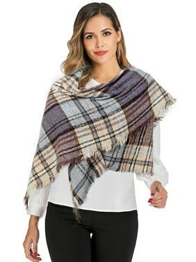 LELINTA Women Stylish Warm Plaid Pattern Checkered Tartan Blanket Wrap Winter Scarf for Cold Fall Winter Season