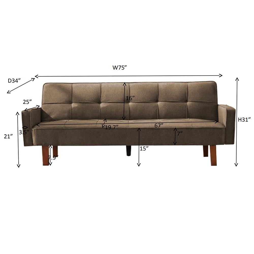 Sofa Bed Seventh Brown Fabric Sofa Futon Sofa Bed Couch Modern Linen Fabric Convertible Folding Sleeper Sofa 180 Degree Expandable Memory Foam Cushion Living Room Recliner Couch Brown Q424 Walmart Com