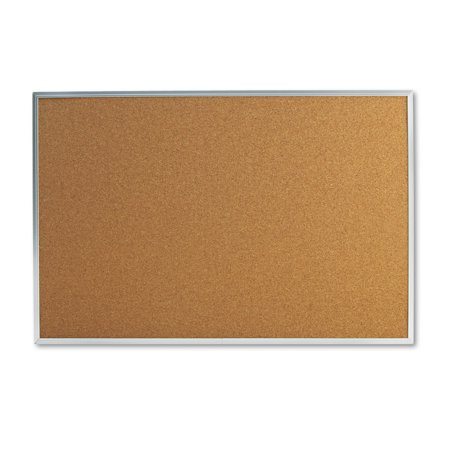"Universal Natural Cork Bulletin Board, 36"" x 24"", Satin-Finished Aluminum Frame"