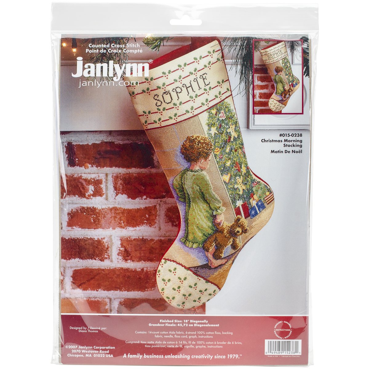 "Christmas Morning Stocking Counted Cross Stitch Kit-18"" Long 14 Count"