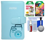 Fujifilm Instax Mini Wallet 108 Photo Album (Blue) with 20 Color Prints & 10 Rainbow Prints + Kit for 7S, 8, 25, 50S, 90 Cameras