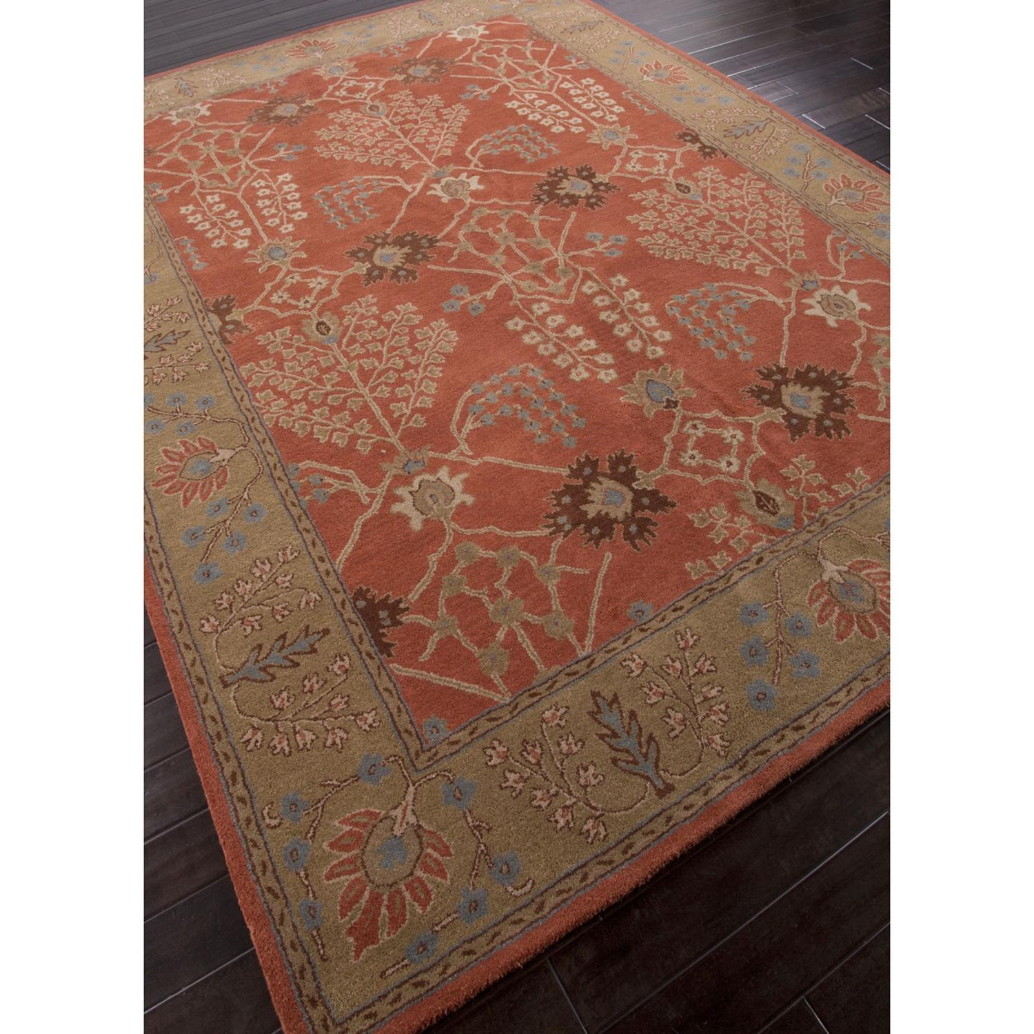 3.5' x 5.5' Burnt Orange and Mocha Brown Arts And Crafts Pattern Hand-Tufted Wool Area Throw Rug