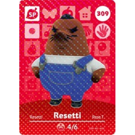 resetti- nintendo animal crossing happy home designer series 4 amiibo card (Animal Crossing Game To Play On Computer)
