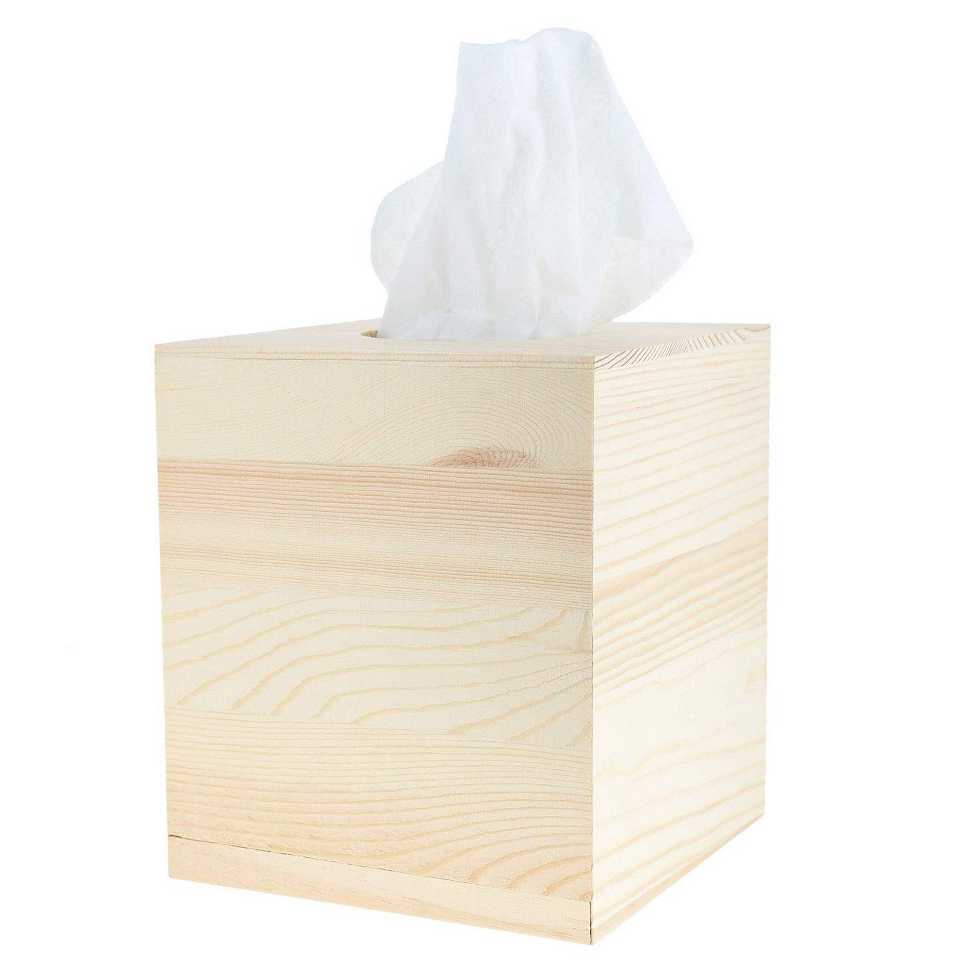 DIY Tissue Box for Bathroom Juvale Unfinished Wood Tissue Box Cover Bedroom Night Stand 5.06 x 5.06 x 5.875 Inches Natural Wood Facial Tissue Box Holder
