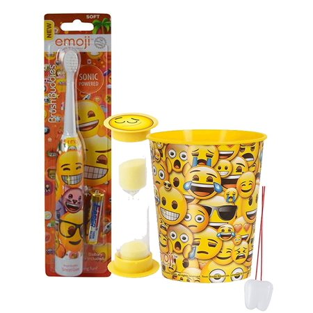 "Emoji Inspired 3pc Bright Smile Oral Hygiene Set! Turbo Spin Toothbrush, Brushing Timer & Mouthwash Rinse Cup! Plus ""Remember To Brush"" Visual Aid!, Kids will have no.., By PG"