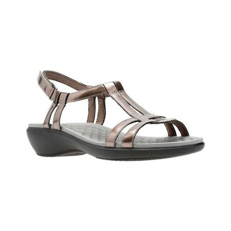 01251be54695 Clarks - Clarks 26068905  Women s Sonar Aster Pewter Synthetic Patent Sandal  (7 B(M) US) - Walmart.com