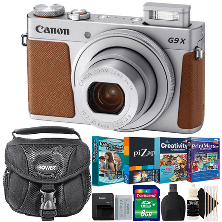 Canon Powershot G9x II Digital Camera Silver with Photo Editing - Scrapbooking Collection Software Accessory